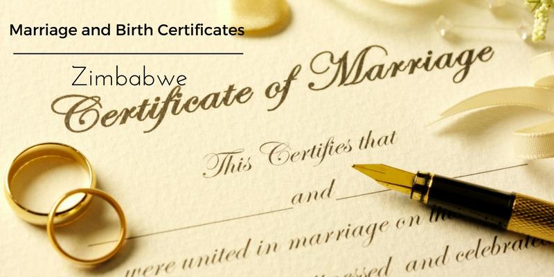Marriage certificate Zimbabwe birth certificate Zimbabwe